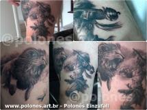 polonesart - Polonês Einzufall Tattoo Cortesia - Hercules e o Leao de Nemeia - Polonesart